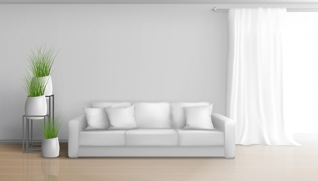 Home living room minimalistic, sunny interior in white colors with sofa on laminate floor, long, heavy curtain on window rod, ceramic flowerpots with green plants illustration