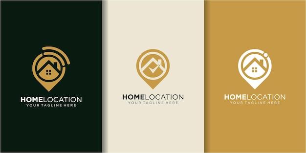 ホームロケーション、ホームネットワークのロゴデザインのインスピレーション。ホームロゴデザイン