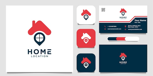 Home location logo and business card premium vector