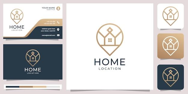 Логотип домашнего местоположения, комбинированные пин-карты, минималистский дизайн, элемент дизайна в стиле штрих-арт и шаблон визитной карточки premium векторы