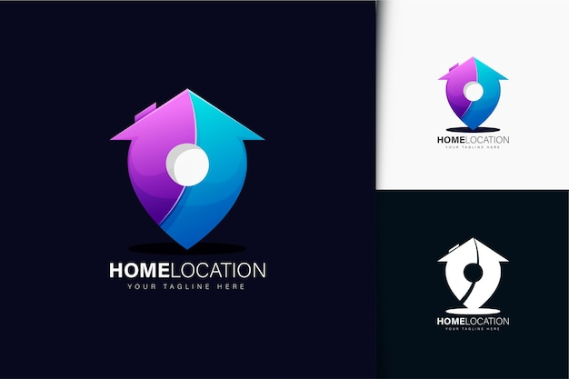 Home location logo design with gradient