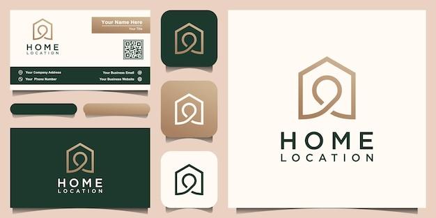 家の場所ロゴデザインテンプレート、ピンマップと組み合わせた家。