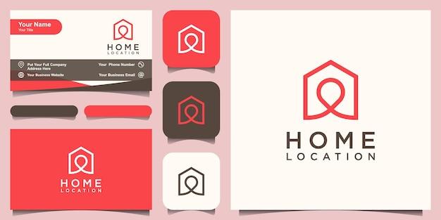 ホームロケーションロゴデザインテンプレート、ピンマップと組み合わせた家。