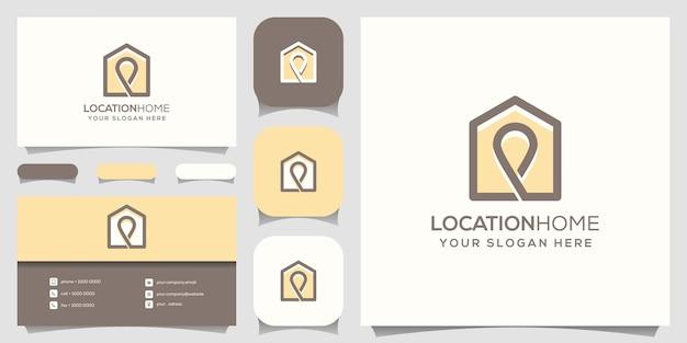 Шаблоны логотипов домашнего местоположения и дизайн визиток