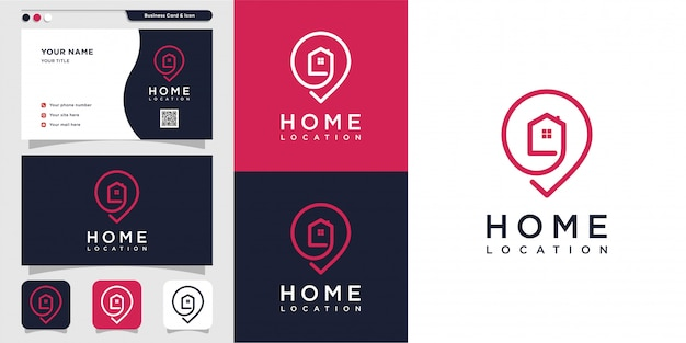 Home location logo with line art and business card design. pin, map, location, home, house, icon, building premium