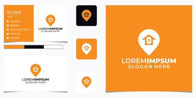 Home location logo with line art and business card design. pin, map, location, home, house