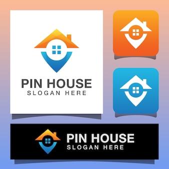 家とピンマップマーカーのロゴデザイン、ベクトルテンプレートと家の場所