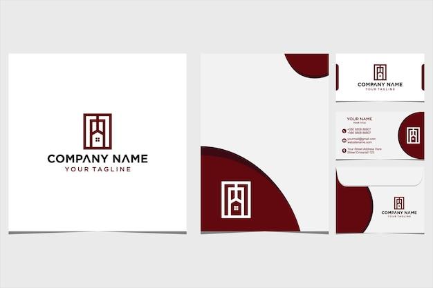 会社と名刺の封筒とレターヘッドプレミアムベクトルプレミアムベクトルのホームロゴデザインのインスピレーション