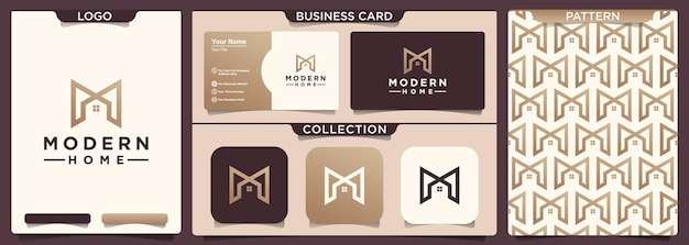 Home logo design with the letter initial m.