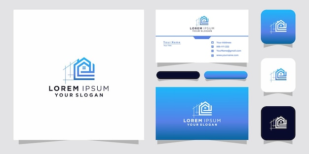 Home logo line art style and business card