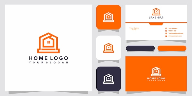 Home logo templates and business card design premium vector