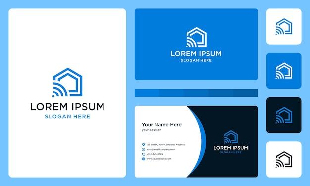 Домашний логотип с передовыми технологиями и подключением. визитная карточка.