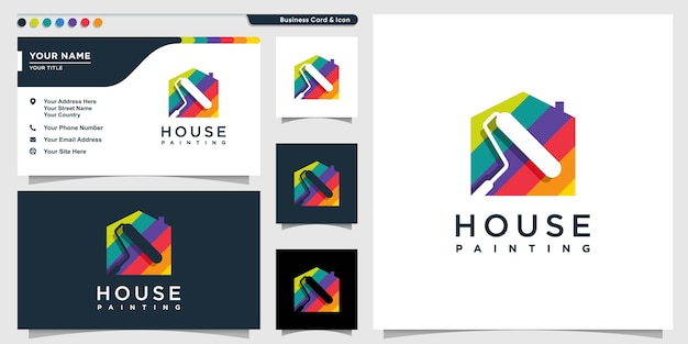 Домашний логотип в стиле цветной живописи и шаблон дизайна визитной карточки