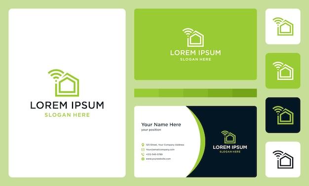 Домашний логотип с подключенным и сигналом. дизайн визитной карточки.
