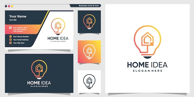 Home logo with creative idea style and business card design template, home, idea, smart