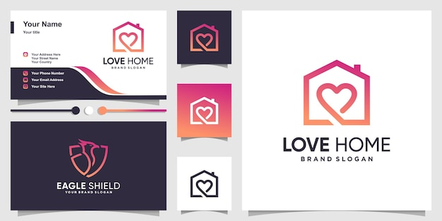 Home logo with creative love concept and business card design