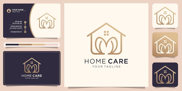 Home logo with heart in line art and business card