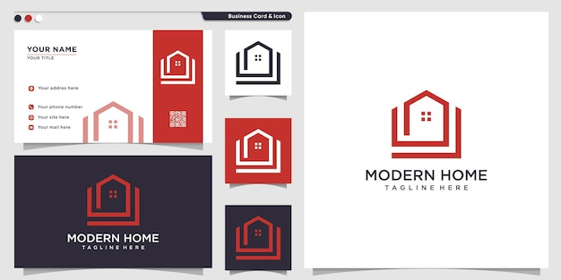 Домашний логотип с современной концепцией premium векторы