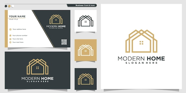 Home logo with modern minimalist line art style premium vector