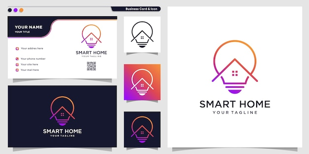 Home logo with modern smart symbol style and business card design template