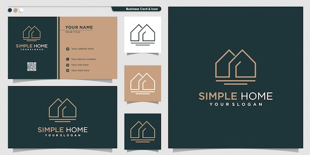 Home logo with simple line art style and business card design template, home, logo, line art, logo template