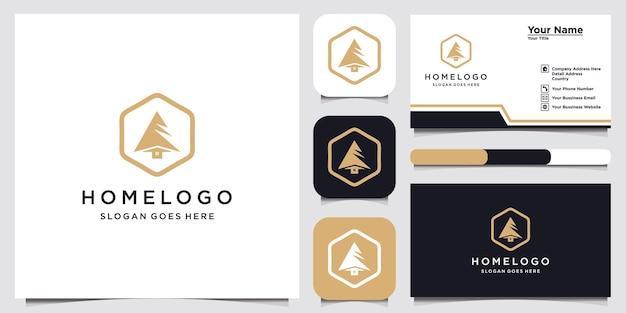 Домашний логотип с шаблоном дизайна дерева и визитной карточкой