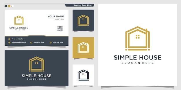 Домашний логотип с уникальным и простым стилем линий и дизайном визитной карточки premium векторы
