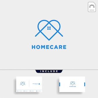 Home love care logo design and business card template