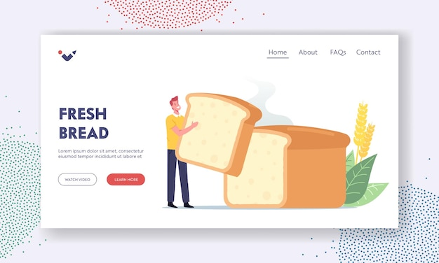自家製ベーカリーランディングページテンプレート。巨大な焼きトミー、自家製パンの塊を保持している幸せな男性キャラクターを持つ小さな男。おいしいパン屋と焼きたてのパンのコンセプト。漫画のベクトル図