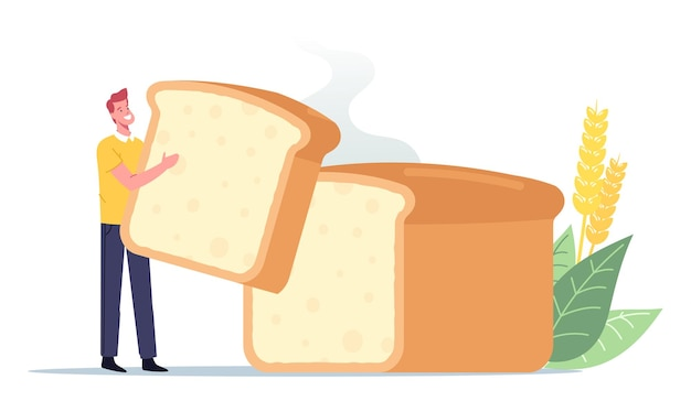 Home made bakery, tiny man with huge baked tommy, happy male character holding piece of homemade bread loaf in hands