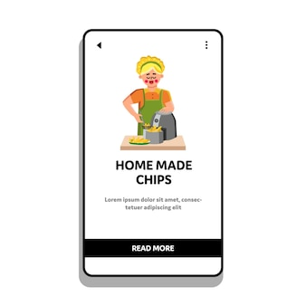 Home made chips cooking girl in frying tool vector. young woman frying home made chips, snack cooked from natural vegetable. characters cook homemade dish web flat cartoon illustration
