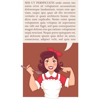 Домашняя кухня в стиле ретро, флаер или баннер с изображением счастливой мультипликационной домохозяйки