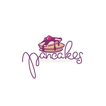 집에서 만든 팬케이크 로고 템플릿, 글자 구성이 있는 낙서 스타일 그림