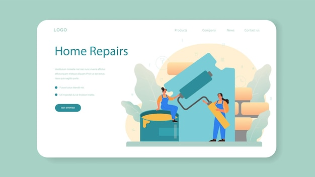 Home master web banner or landing page. repairman applying finishing materials.