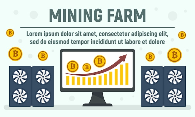 Home mining farm concept banner, flat style