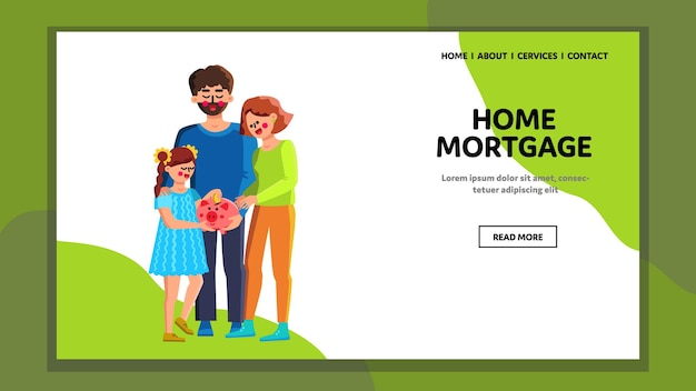 Home mortgage family safe coin in piggybank vector. man , woman and girl put money in piggy bank for investment and mortgage. characters property estate buy planning web flat cartoon illustration