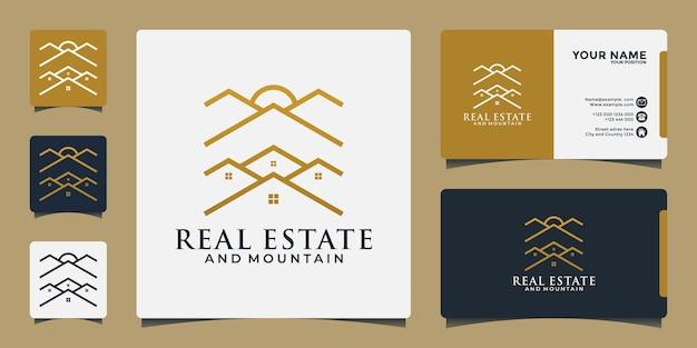 あなたのビジネス不動産の旅行、冒険などのための家の山のロゴデザイン