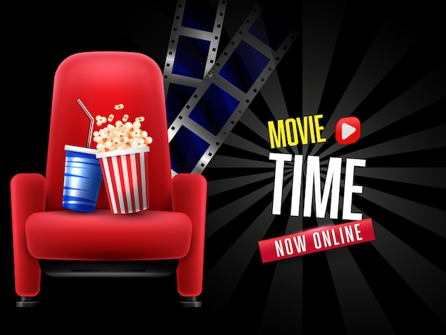 Home movie banner with popcorn