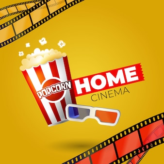 Home movie with popcorn and glasses