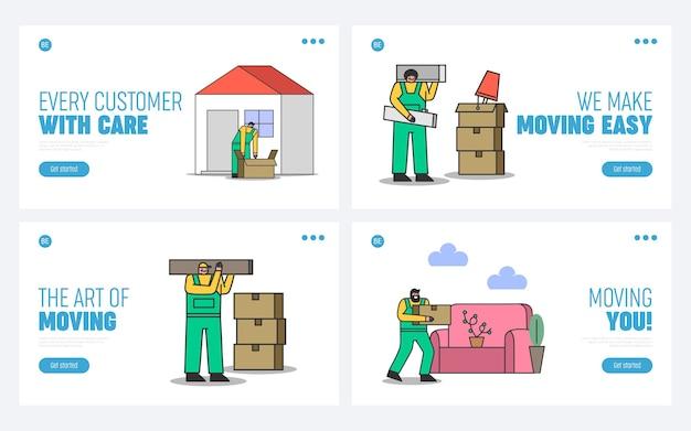 웹 사이트에 대한 홈 이사 회사 방문 페이지. 상자에 포장 된 집 물건을 들고 제복을 입은 근로자와 배달 서비스 그림