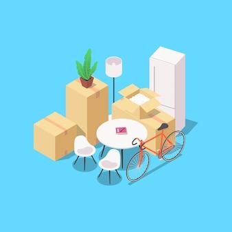 집 이동 개념입니다. 가구, 가전 제품 및 기타 가정 용품이 있는 상자 세트. 흰색 배경에 벡터 아이소메트릭 그림입니다.