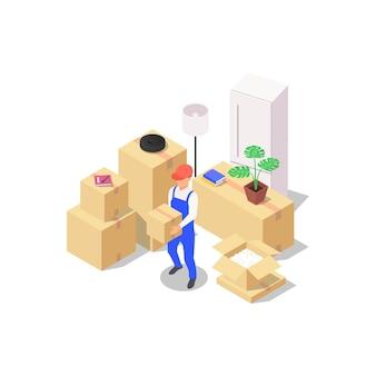 집 이동 개념입니다. 다양한 가정용품이 들어 있는 포장된 상자 세트와 상자를 손에 들고 있는 로더. 파란색 배경에 벡터 아이소메트릭 그림입니다.
