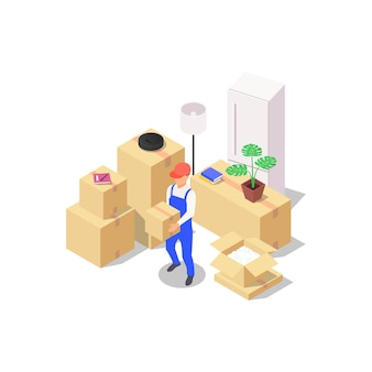 Home moving concept. a set of packed boxes with various household items and a loader holding a box in his hands. vector isometric illustration on a blue background.