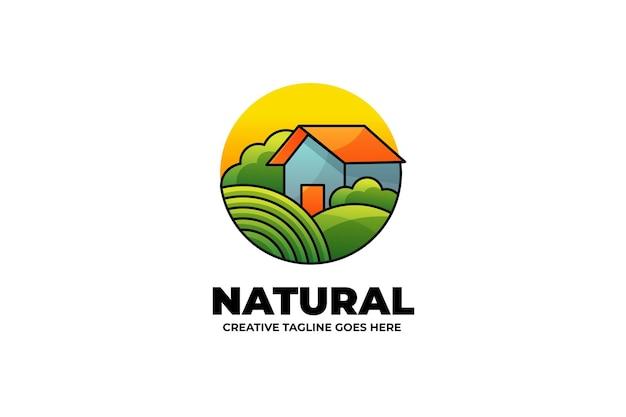 水彩風の家の自然農業マスコットのロゴ