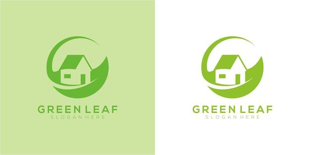 Домашний природный дом в сочетании с шаблоном дизайна логотипа из листьев