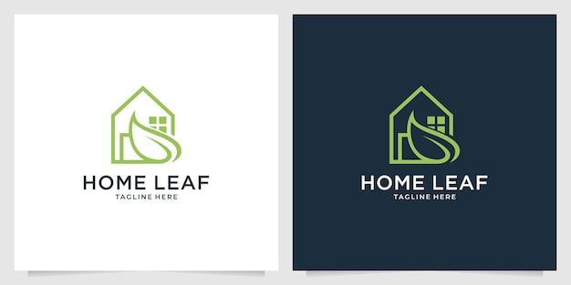 葉のロゴデザインと家の自然
