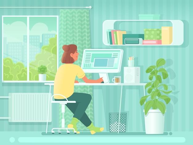 홈 오피스. 방에 있는 컴퓨터 앞에 한 여자가 책상에 앉아 있다. 직장에서 여자 학생 또는 프리랜서. 온라인 쇼핑. 평면 스타일의 벡터 일러스트 레이 션