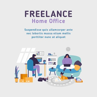 Home office apartment. workspace freelancer family. man works at desk pc. woman works with laptop. baby playing at floor. working at home anytime concept. stay at home with our family. business online