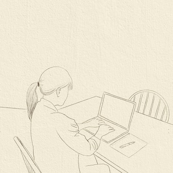 Home office background career in new normal simple line drawing