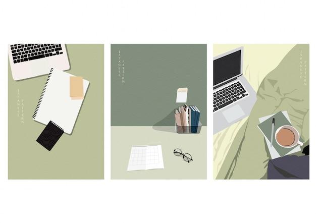 ホームオフィスの背景。在宅テンプレート。ラップトップ、ノートブック、コーヒー、毛布、メガネの要素を使用して自宅で作業する
